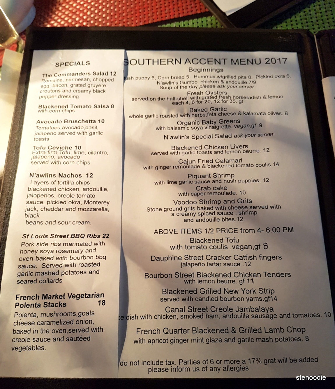 Southern Accent Specials menu and prices 2017