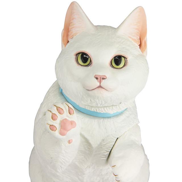 白白胖胖超可愛!海洋堂 Sofubi Toy Box 016B 「白貓 / 曼赤肯貓 (ネコ マンチカン)」