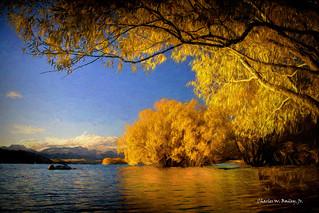 Digital Oil Sticks Painting of Lake Tekapo by Charles W. Bailey, Jr.