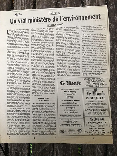 Tazieff article Le Monde 09 09 17