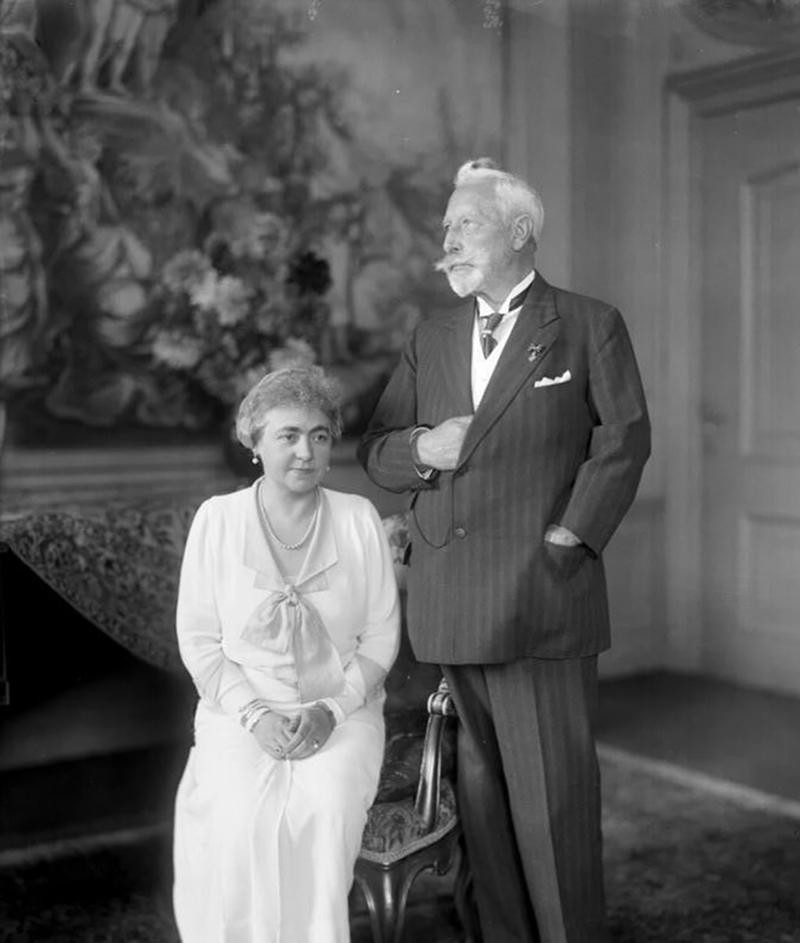 The Kaiser and his second wife Hermione at Doorn House, 1933