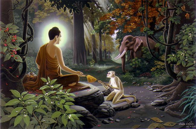 Ilustrasi Purnama Madu: Tergerak dengan pengabdian Gajah Pārileyyaka, seekor kera mempersembahkan madu kepada Sri Buddha.