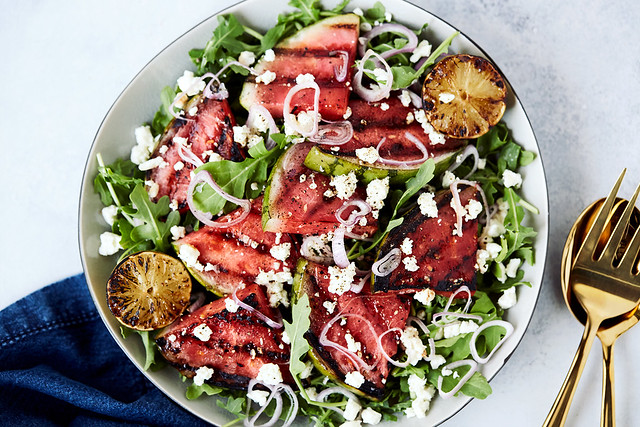Grilled Watermelon Salad with Arugula, Feta and Charred Limes