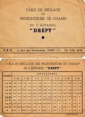 André Pierrat (P.A.C.), Drépy, table de réglage des profondeurs de champ