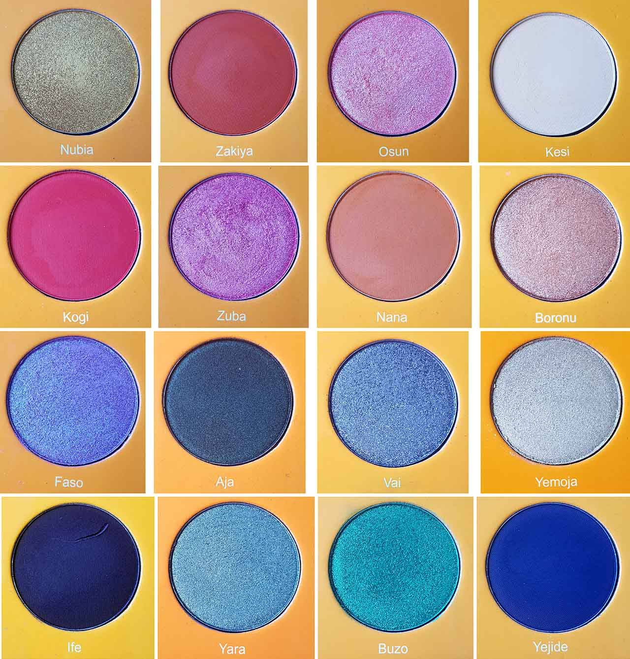 Juvia's Place Magic Palette: And this is a close up of each shade with its name. There are 6 matte shades - Zakiya, Kesi, Nana, Kogi, Lfe and Yejide – and 10 shimmer shades – Nubia, Osun, Zuba, Boronu, Faso, Aja, Vai, Yemoja, Yara and Buzo