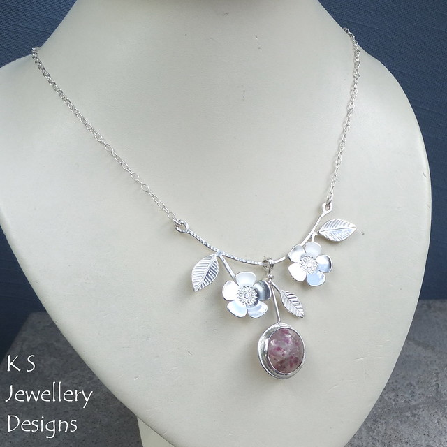 Cherry Blossom Flower & Leaves Sterling Silver Bib Necklace (commission with customer's own gemstone)