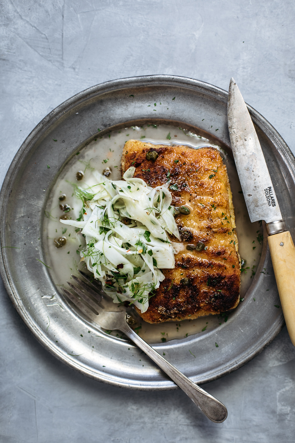 Fish Piccata with Fried Caper & Fennel Salad