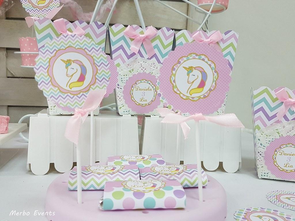 Toppers fiesta cumpleaños unicornio Merbo Events