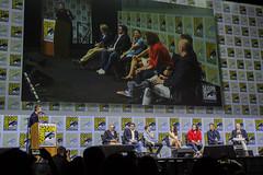 Moderator Chris Hardwick, Steven Spielberg, Ernest Cline, Tye Sheridan, Olivia Cooke, T.J. Miller, Ben Mendelsohn and Zak Penn