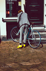 Yellow boots & blue bike