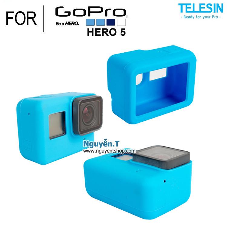 Vỏ Silicon cao su Telesin chống sốc GoPro 5 | BLUE