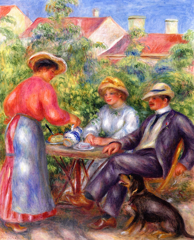 A Cup of Tea in the Garden by Pierre Auguste Renoir, 1907