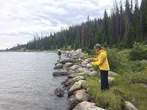 Beartooth hike Linda fishing