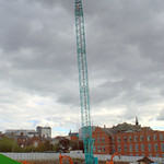 The huge crane is up at the UCLan site in Preston