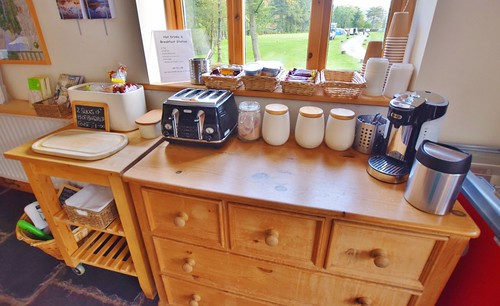Eskdale campsite Lake District - reception and shop - breakfast station