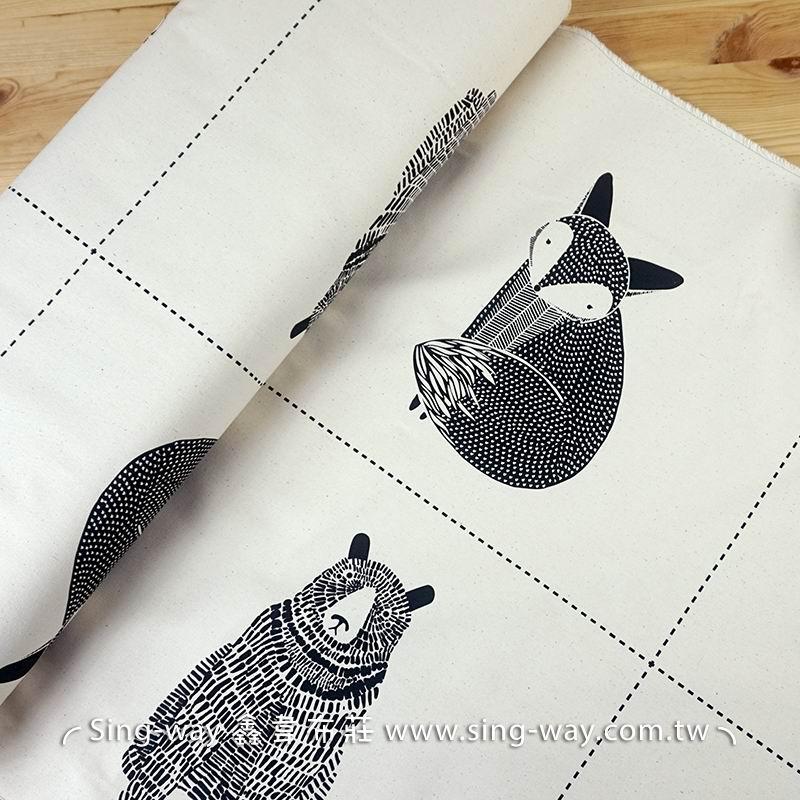 動物小圖騰 (1.95尺/圖) 貓頭鷹 狐狸 兔子 熊 抱枕 束口袋 包包 購物袋 手工藝DIy拼布布料 CF1200001
