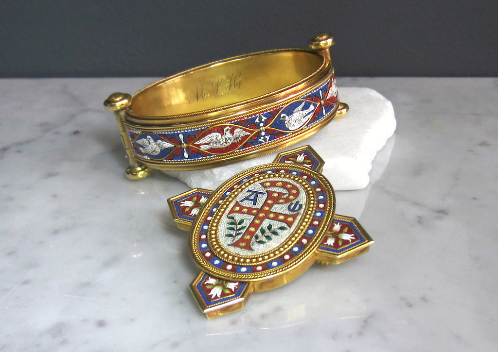 2 doyle doyle micromosaic bangle brooch vatican workshop