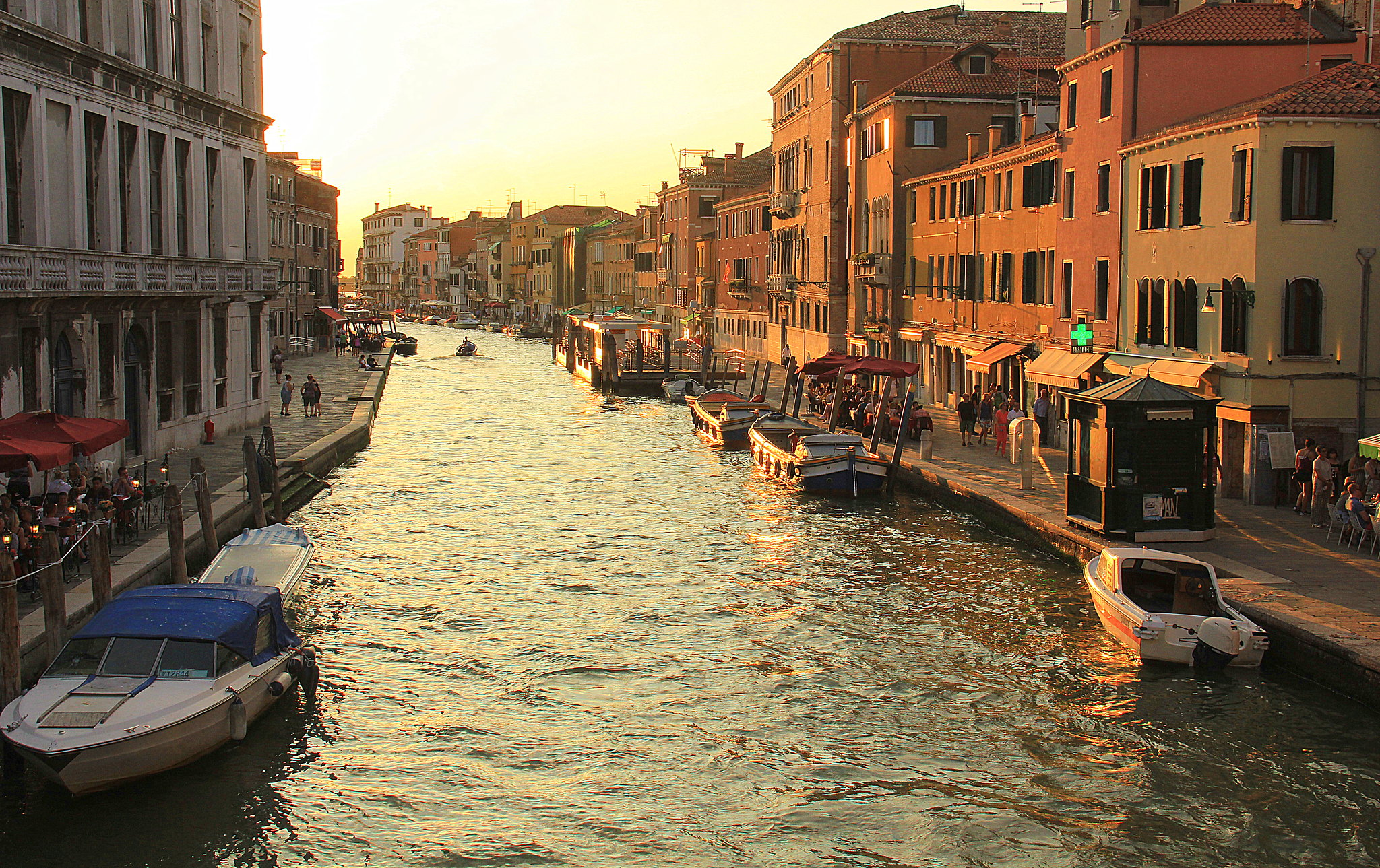 View of a canal during sunset in Venice