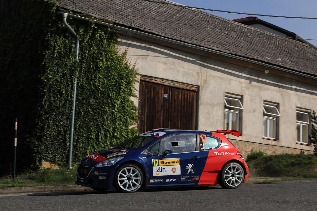 17 SUAREZ Jose Antonio (ESP) CARRERA ESTEVEZ Candido (ESP) Peugeot 208 T 16 action during the 2017 European Rally Championship ERC Barum rally,  from August 25 to 27, at Zlin, Czech Republic - Photo Jorge Cunha / DPPI