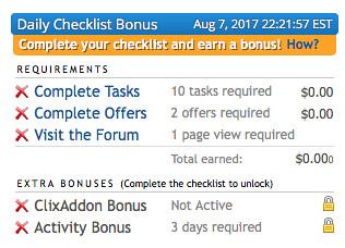 Caily Checklist Bonus de CLixSense