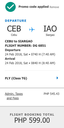 Cebu to Siargao Cebu Pacific Air Promo Feb 24, 2018