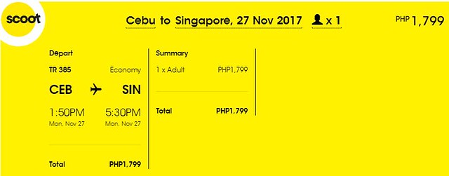 Cebu to Singapore Promo November 27, 2017 Scoot