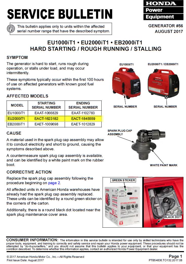Honda EU2000i, EB2000i, EU1000i Service Bulletin - SmokStak