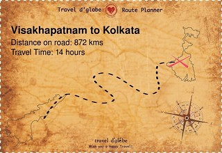 Map from Visakhapatnam to Kolkata