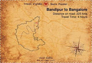 Map from Bandipur to Bangalore