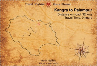 Map from Kangra to Palampur