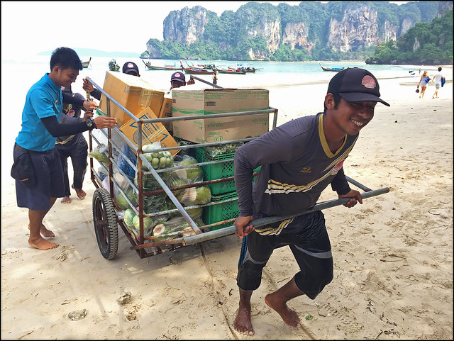 Unloading supplies at Railay Beach West