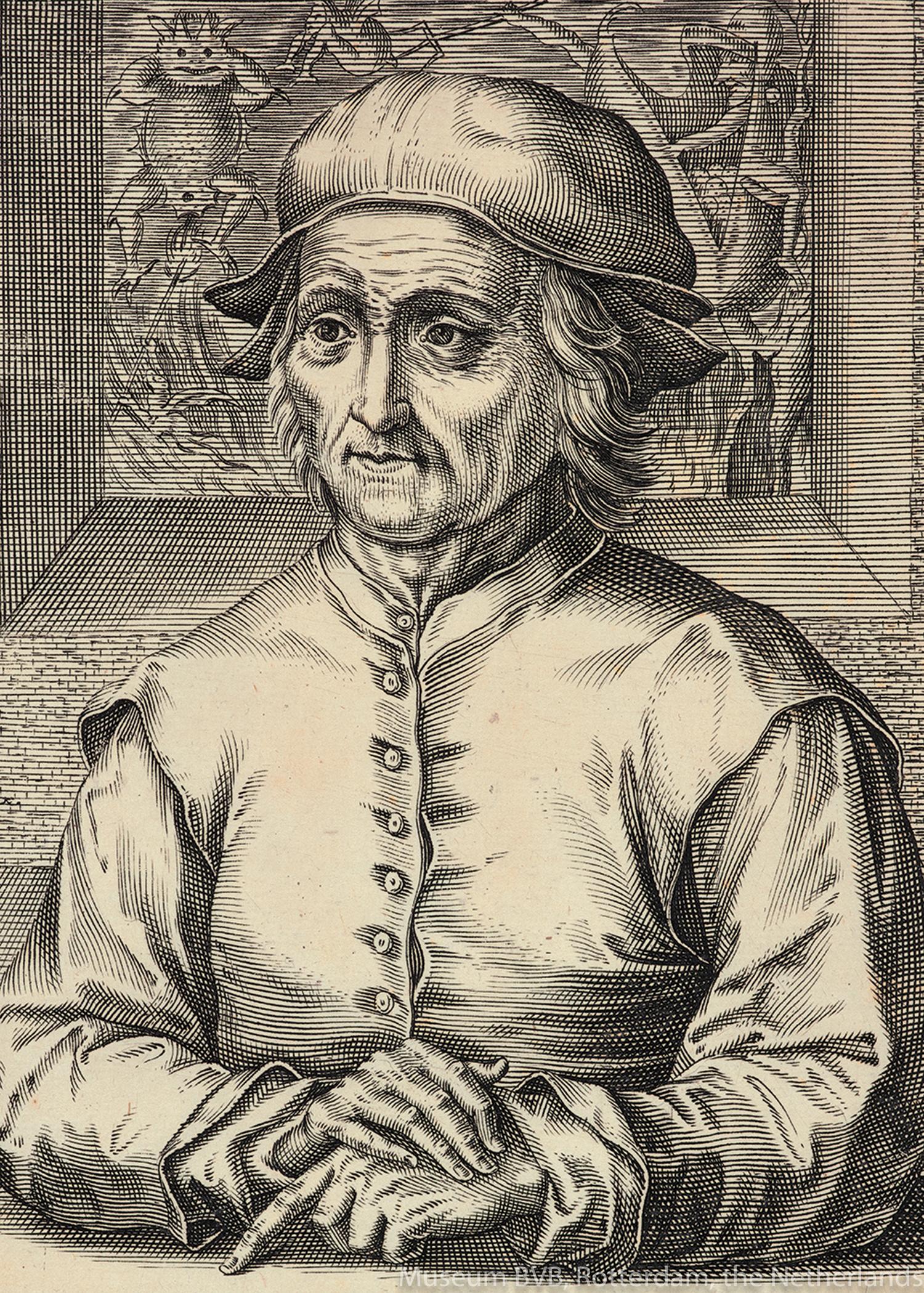 ヘンドリック・ホンディウス1世《ヒエロニムス・ボスの肖像》(部分、1610年、エングレーヴィング)