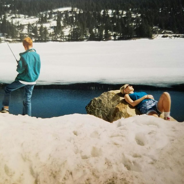 My mother has been texting me old photos. I love this one of my brother and I in McCall, Idaho--a little snow never stopped me from sunbathing! 😎