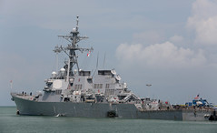 USS John S. McCain (DDG 56) sits along the pier at Changi Naval Base, Aug. 21. (U.S. Navy/Grady T. Fontana)