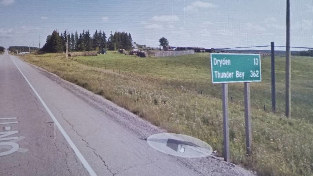 Dryden 13 km, Thunder Bay 362 km. #ridingthroughwalls #xcanadabikeride #googlestreetview #ontario
