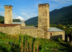 Mestia, typical Svan defense towers of the Svaneti region, Georgia
