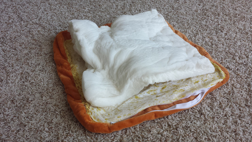 """This """"toast bed"""" ended up just being a warped piece of foam"""