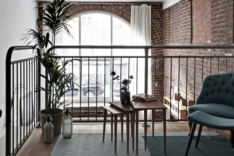 Scandinavian Loft With Brick Walls