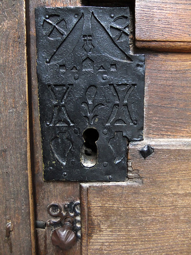 Elaborate iron lock at the Monastery of Valvanera in Spain