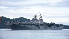 USS America (LHA 6) arrives at the Royal Malaysian Navy's base in Kota Kinabalu, Aug. 14. (Royal Malaysian Navy photo)