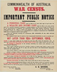 Public notice regarding the conditions for completing the Commonwealth of Australia War Census documents, 18 August 1915
