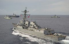 In this file photo, USS Sterett (DDG 104) takes part in a passing exercise (PASSEX) with ships of the Royal Australian Navy, Japan Maritime Self-Defense Force and Royal Canadian Navy in June. (Royal Australian Navy/LSIS Bradley Darvill)