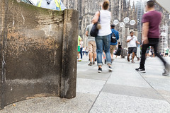 Passerby walking around a so called Domstein - Cologne