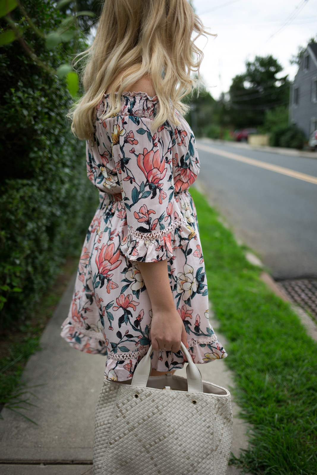 Lulu's HELLO, DARLING BLUSH PINK FLORAL PRINT OFF-THE-SHOULDER DRESS