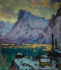 Anna Boberg - Svolvaer Harbour at the Height of the Fishing Season Study from Lofoten at Nationalmuseum Stockholm Sweden