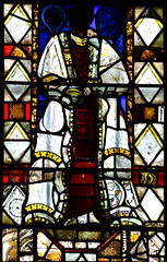 composite figure of a bishop (14th, 15th and 19th Century glass)