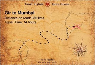Map from Gir to Mumbai