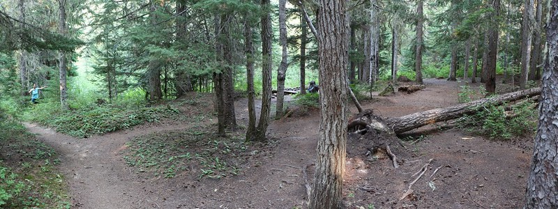 Panorama view of the campsite on the Pacific Crest Trail at Miners Creek