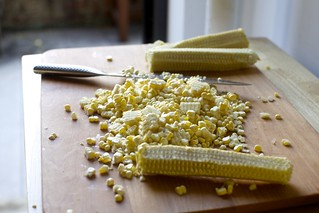 cutting kernels from the corn