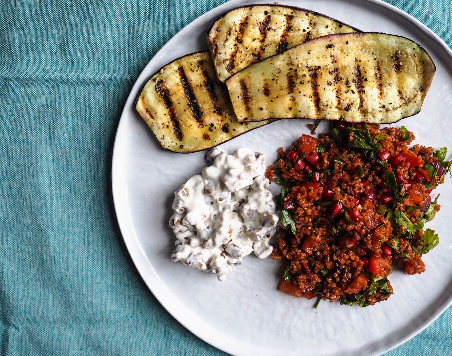 appetite - Griddled aubergine, date, walnut and yoghurt salad and kisir